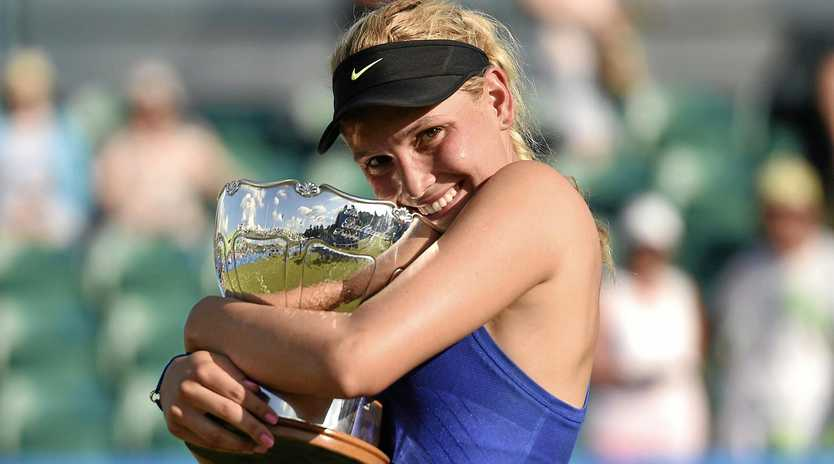 Donna Vekic celebrates after beating top seed Johanna Konta in the final of the Nottingham Open.