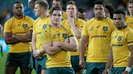 The Wallabies show their disappointment after going down to Scotland in the Test match in Sydney on Saturday.