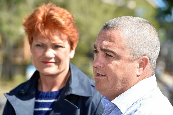 One Nation candidate Damian Huxham with senator Pauline Hanson.