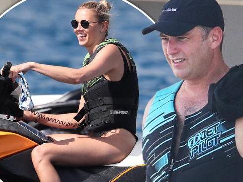 Karl Stefanovic and Jasmine Yarbrough soak up the sun in Bora Bora.
