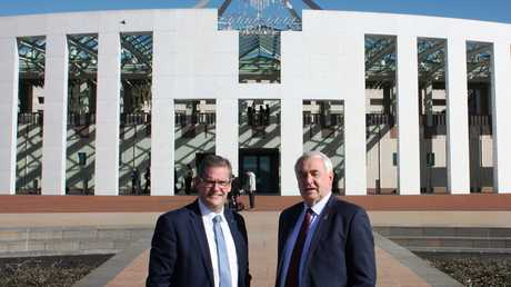 Member for Groom John McVeigh (left) and Toowoomba Regional Council Mayor Paul Antonio outside Parliament House in Canberra.
