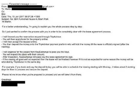 The email Martin received from the scammer.