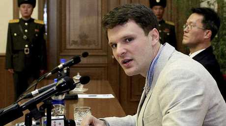 American student Otto Warmbier speaks as he is presented to reporters in Pyongyang, North Korea. More than 15 months after he gave a staged confession in North Korea, he was brought home to the US and died shortly after