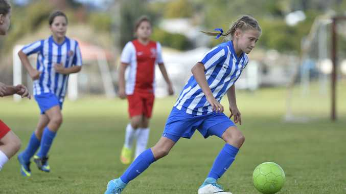 Zara Kruger of South-West Thunder against Olympic, Football Queensland SAP Carnival hosted by South-West Thunder FC at Captain Cook ovals, Sunday, June 18, 2017.