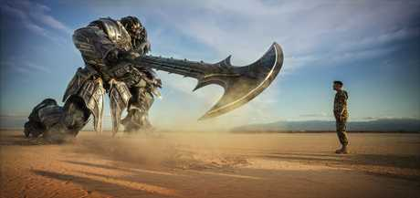 Megatron and Josh Duhamel as Lennox in a scene from the movie Transformers: The Last Knight.