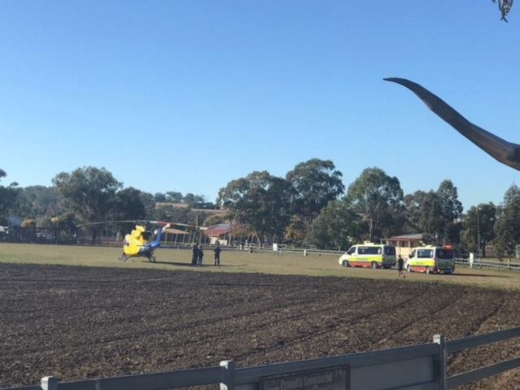 Two kids were airlifted to hospital after being hit by a car at Pittsworth.