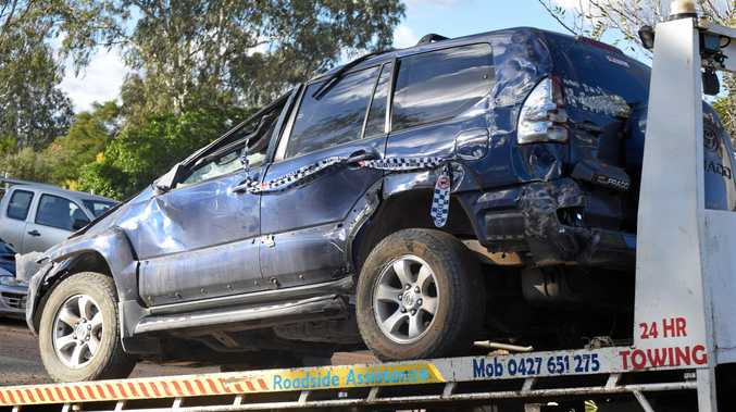 The damaged car that took place west of Eidsvold on Sunday afternoon.