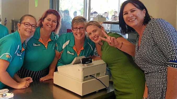 GOOD NEWS: Labor candidate for Whitsunday, Bronwyn Taha (right) and State Minister for Education and Tourism Kate Jones with Mackay Northern Beaches High School tuckshop mums.