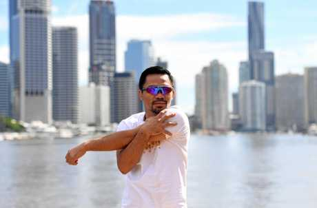 Pacquiao filming of a promotional video in Brisbane