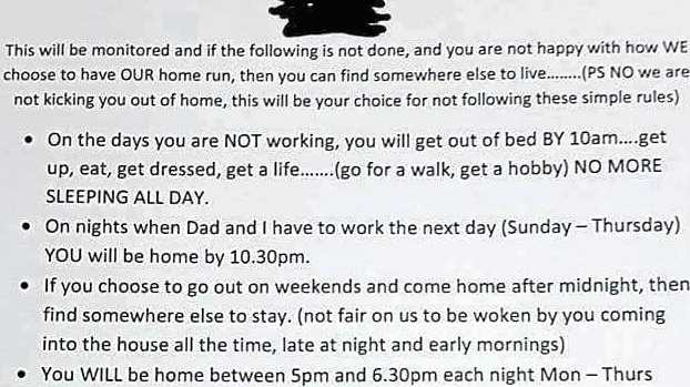 A mum's 'house rules' for her teen.
