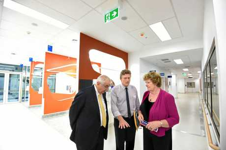 Former NSW Health Minister Jillian Skinner and Lismore MP Thomas George chat to Chris Ingall while on a tour of the completed section of the new side of the Lismore Base Hospital in 2014. Photo Marc Stapelberg / The Northern Star