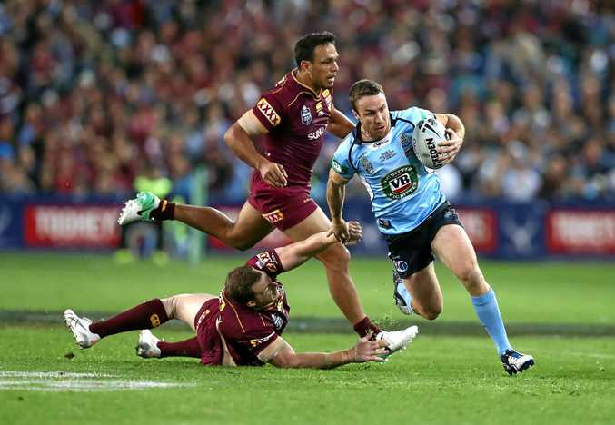 James Maloney of the Blues makes a break in game two.