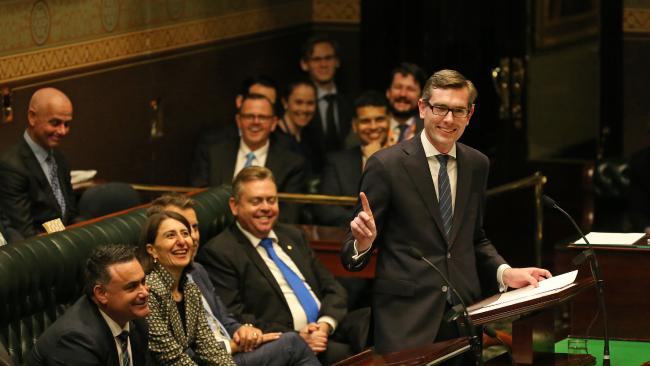 Mr Perrottet delivering his 2017-2018 NSW State Budget in the NSW Lower House.