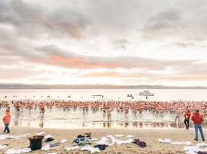 Naked swimmers brave chilly waters at Dark Mofo