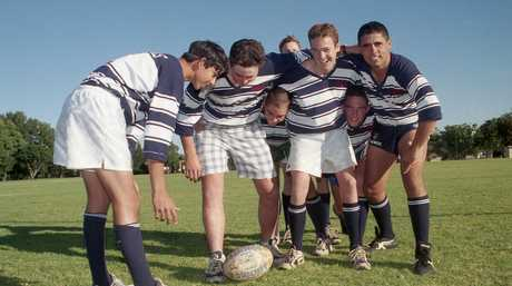 St Mary's College rugby league team including Johnathan Thurston and Jaiman Lowe practice for St Brendan's Yeppoon Centenary match in this file photograph from April 1999.