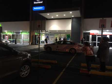 The scene outside Stockland Rockhampton after an evacuation.