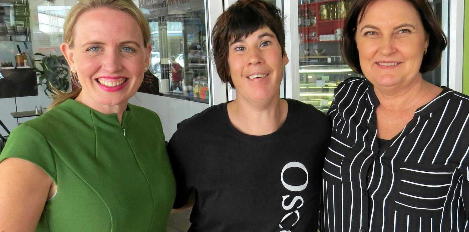 Shanna Malone (centre) with Queensland Minister for Education and Tourism Kate Jones (left) and Member for Mackay Julieanne Gilbert at Oscars on Sydney Street.