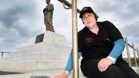 St. Peter's statue on the seawall at Urangan harbour has been vandalised - Linda Carsley from Urangan Fisheries is appalled at the recent destruction.