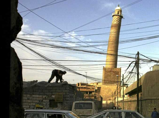 The leaning minaret of the al-Nuri mosque has been destroyed.