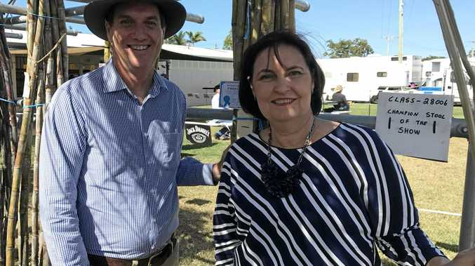 Minister for State Development and Mines Dr Anthony Lynham and Member for Mackay Julieanne Gilbert at Mackay Show, where they encouraged local businesses to attend a seminar to discuss major projects in the region.