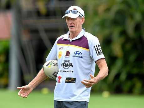 Coach Wayne Bennett looks on during a Brisbane Broncos training session.
