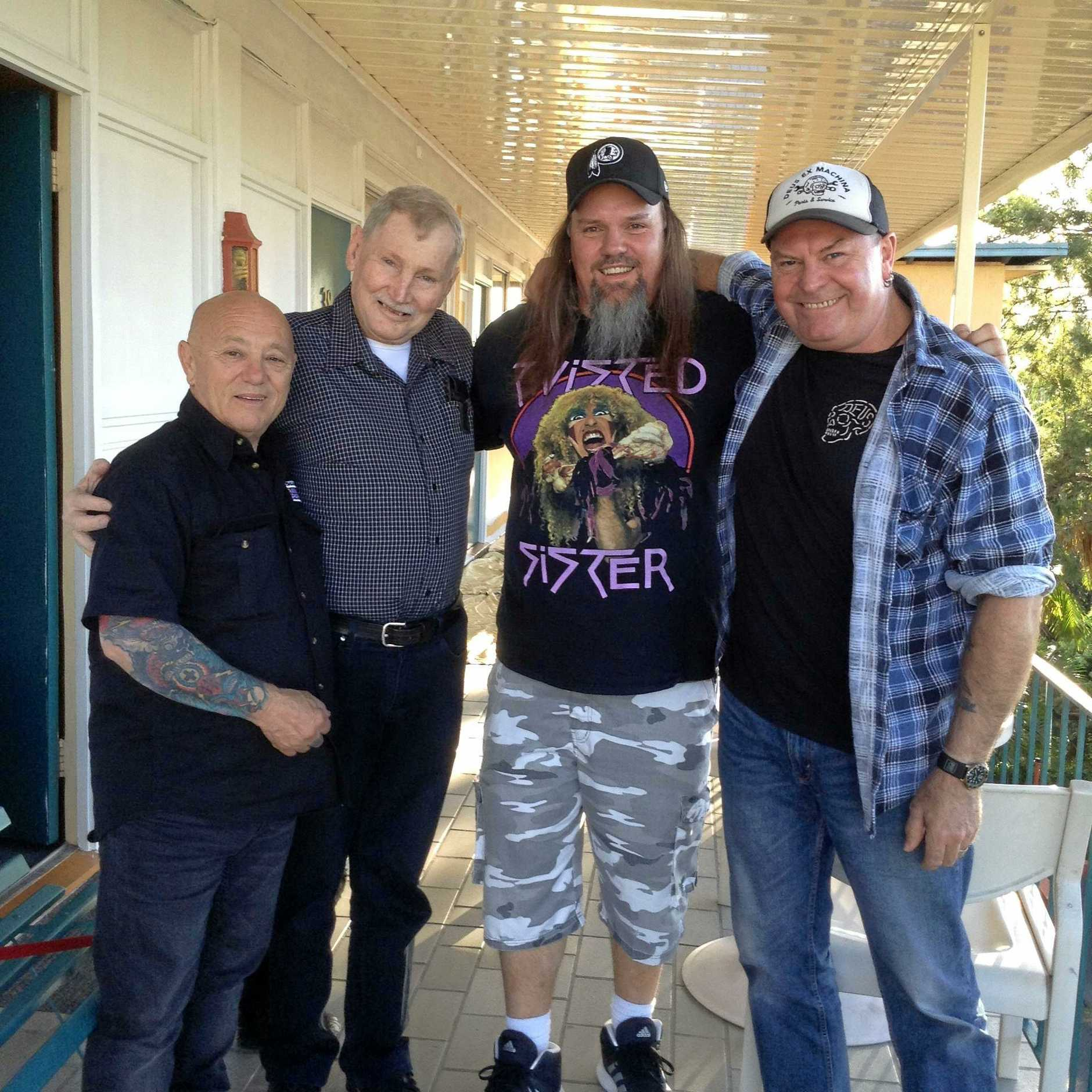 Five weeks ago, Angry Anderson with Denis, his son Jamie Cook and Dai Pritchard.