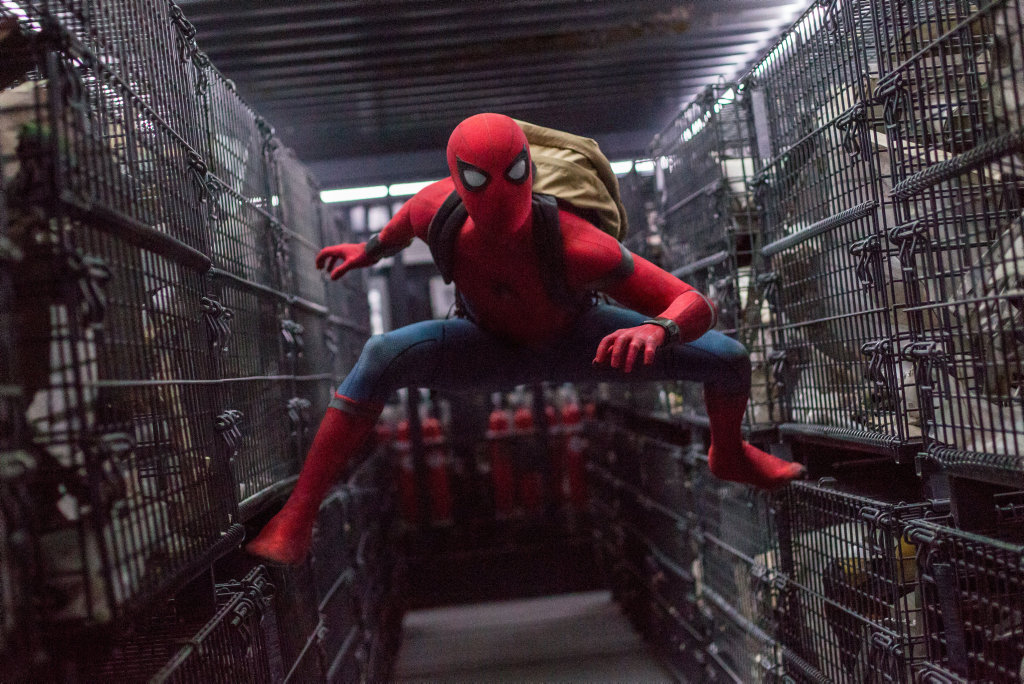Tom Holland in a scene from the movie Spider-man: Homecoming.