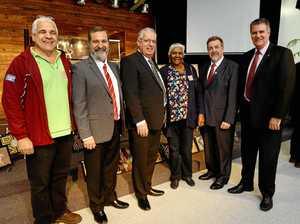 From left: Noel Hicks, Daniel Zelli, Pastor Fred Muys, Aunty Ruth Moffatt, Acting Mayor Paul Tully and Minister Mark Furner.