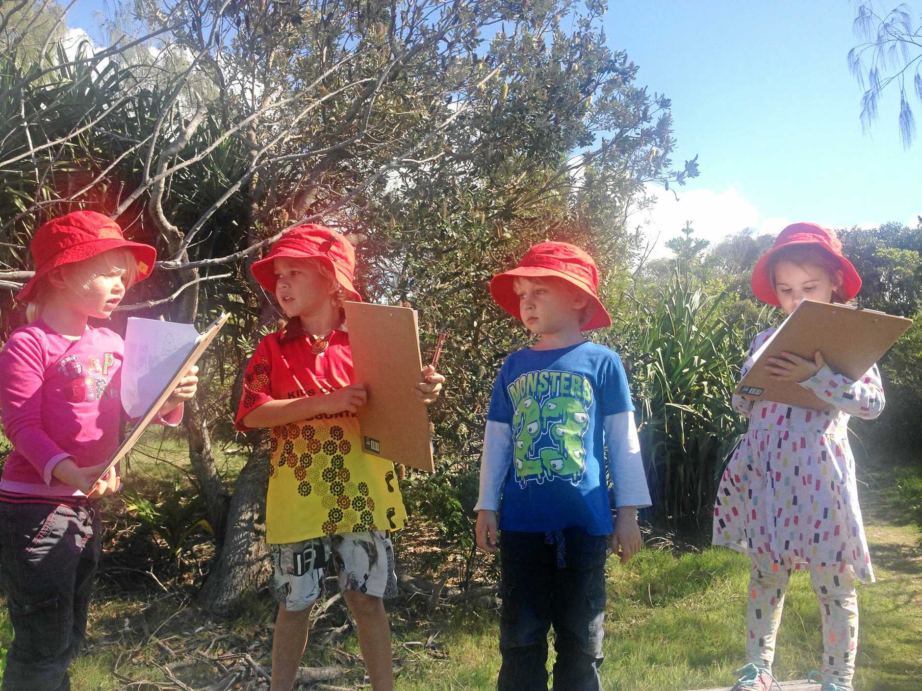 OUT AND ABOUT: Pre-schoolers are loving their learning in the great outdoors as part of the new Nature Explorers program.