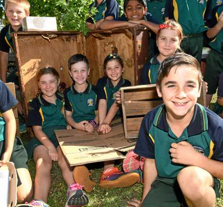 RECYCLED SCULPTURE PROJECT: Bargara State School year 3B students - Tyson (front), Lacey, Wiel, Georgia and Mia (middle), Riley and Kiyaash (back).