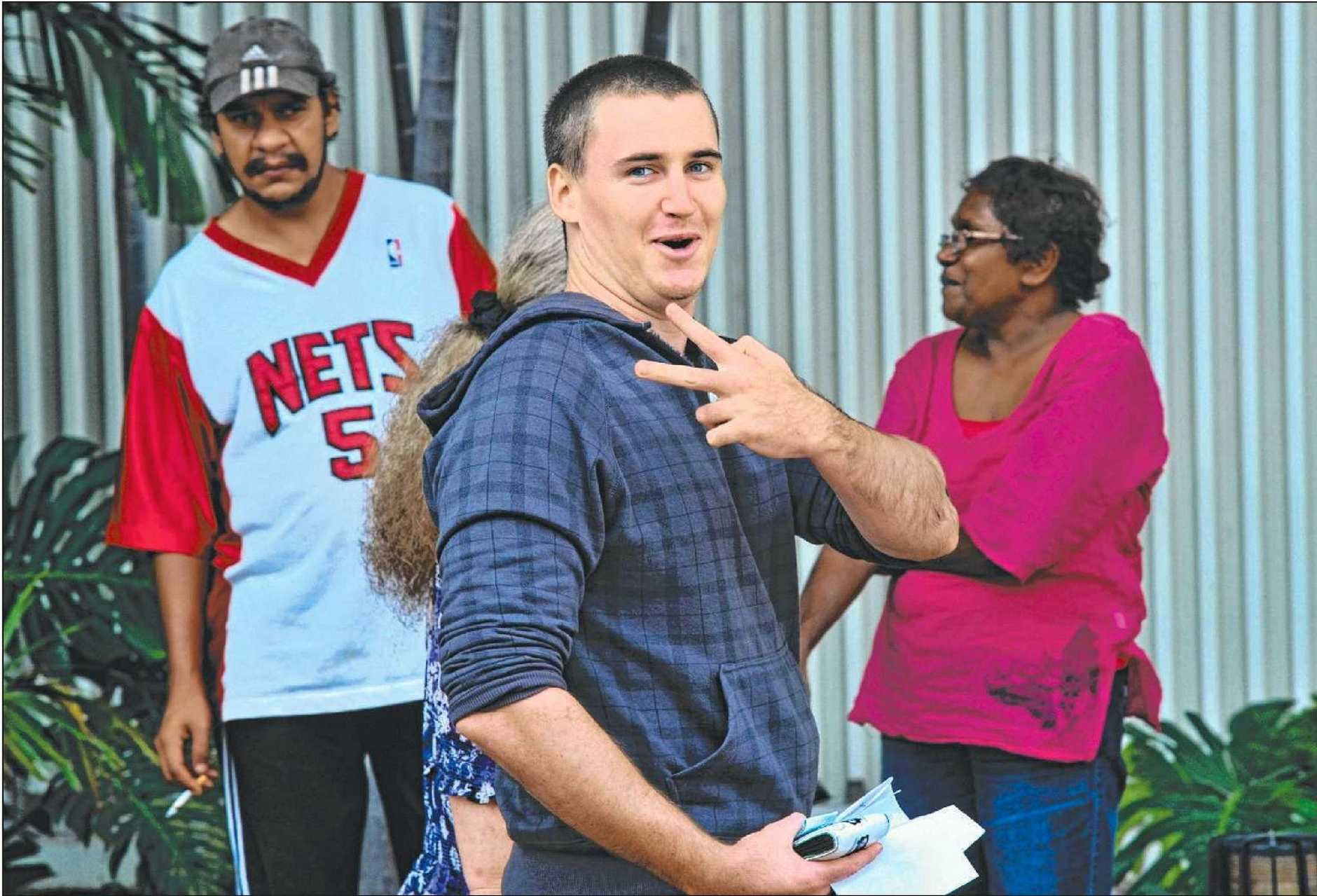 Ryan Andrew Whitfield (front), 27, pleaded guilty to a raft of charges on Friday in Mackay Magistrates Court, linked to a car theft, repeatedly evading police and driving dangerously earlier this year. He appeared from prison.