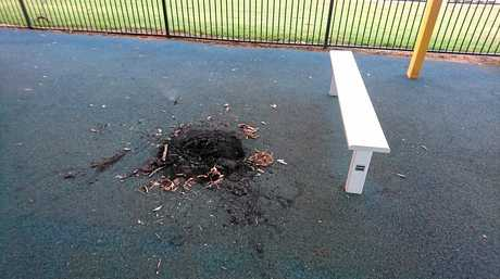 Isaac region Mayor is angry after vandals burnt a soft fall mat.