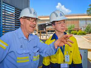 Year 10 Gladstone State High School student Kieran Marcus with BSL general manager Joe Rea.