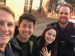 Police officers help man pull off marriage proposal stunt