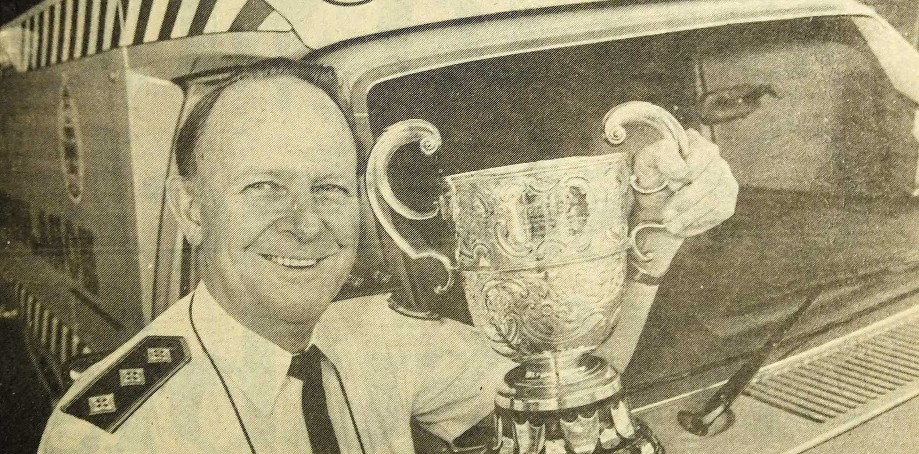 SATURDAY, JULY 22, 1989: Gympie Superintendent Ron Lawrence proudly displays the reugby league Charity Cup which will be contested at Albert Park this weekend.