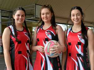 NO REST: Shalom College's captain Grace Whaleboat with vice captains Madison Hard and Georgia Hamilton will play netball next week for their school at the Queensland Independent Schools Netball event.