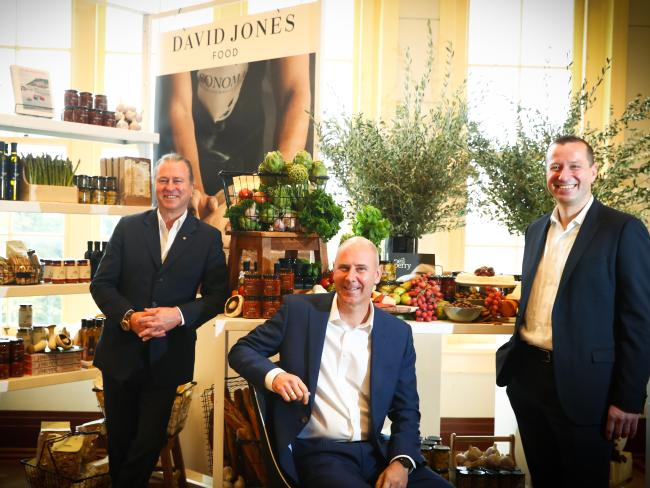 Chef Neil Perry, David Jones chief executive John Dixon and food group executive Pieter de Wet.
