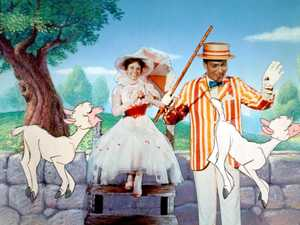 "** ADVANCE FOR MONDAY, OCT. 16 **FILE**This promotional photo provided by Disney Home Entertainment shows actors Julie Andrews as Mary Poppins and Dick Van Dyke as Bert in a scene from the 40th anniversary edition of the Disney DVD. P. L. Travers, author of the ""Mary Poppins"" books, approved of Andrews as Poppins but considered Van Dyke ""all wrong"" and objected to mixing animated characters with live actors. (AP Photo/Disney Home Entertainment)"