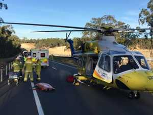 One man was flown to hospital after a crash at Helidon. Picture: RACQ Life Flight Rescue