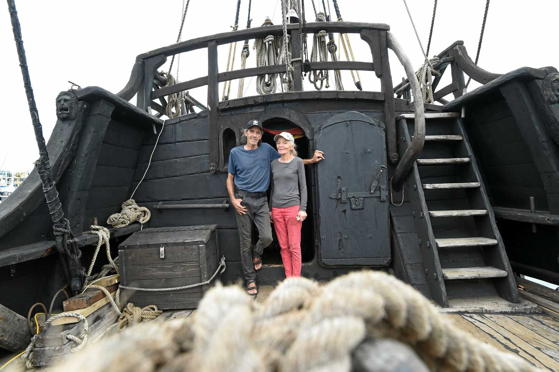 Graeme and Felicite Wylie on board their replica fifteenth century caravel Notorious.