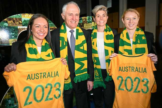 Australian Prime Minister Malcolm Turnbull with Matildas Kyah Simon (left), Michelle Heyman and Clare Polkinghorne supporting the bid to host the 2023 Women's World Cup.