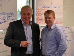 TEAM: Graeme Acton Beef Connections program participants Richard Rains and Bede Mcalpin.