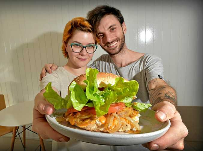 TASTY: Wallea Eaglehawk and Alex Coolican from Delicats Vegan Cafe with their famous vege burger.
