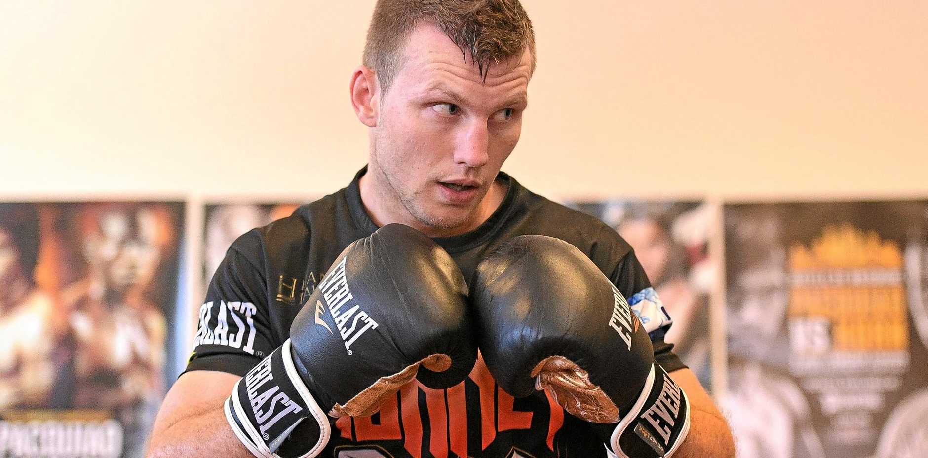 Jeff Horn during a training session in Brisbane today.