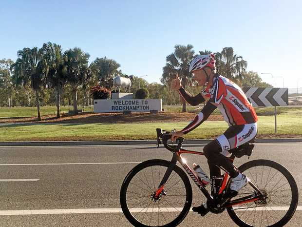 PEDAL POWER: Adelaide businessman Kevin Weeks cycled into Rockhampton on Saturday after pedalling more than 2450 kilometres from Adelaide to raise money for a cycling program for people living with Parkinson's disease.