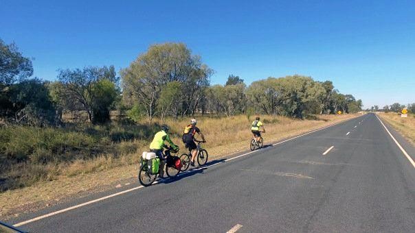 Grant Rawlinson is joined by other cyclists as he pedals from Darwin to Coffs Harbour.