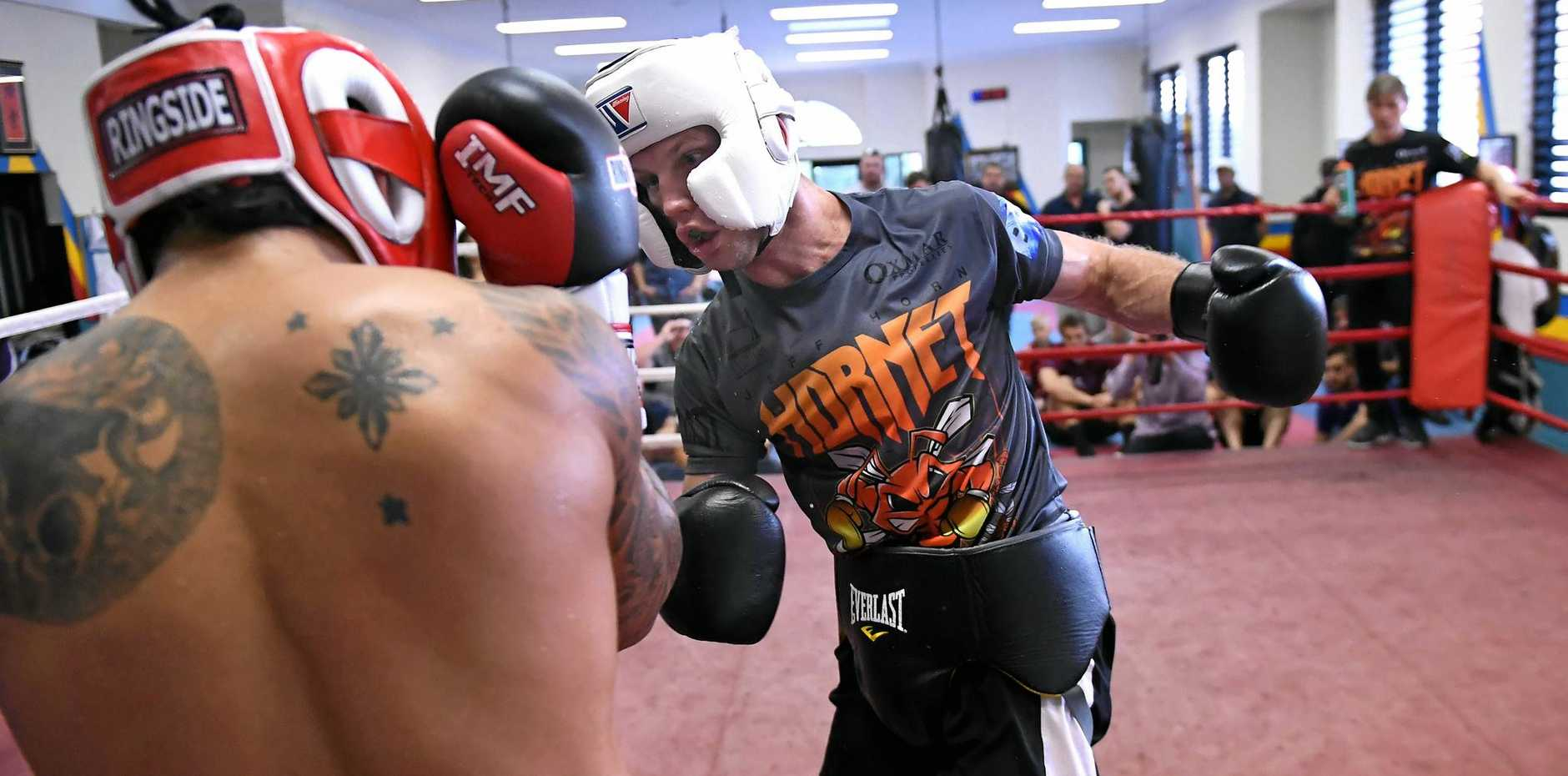 READY TO RUMBLE: Australian boxer Jeff Horn (right) throws a big left during a sparring session against Filipino light welterweight Czar Amonsot.