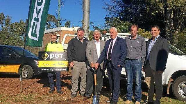 MOVING AHEAD: At the ground-breaking ceremony are (from left) Athol Gossow from FKG, DGT board chairman John Blakeney, Mayor Paul Antonio, Glen Johnstone from FKG and DGT CEO Darren McDonell.