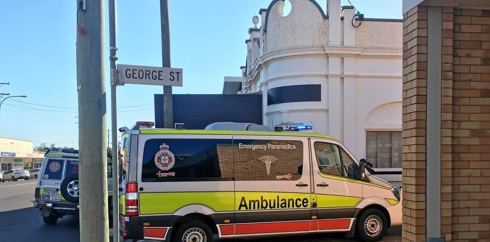 Two Queensland Ambulance Service crews attended the incident on George St, Kingaroy on Monday afternoon.
