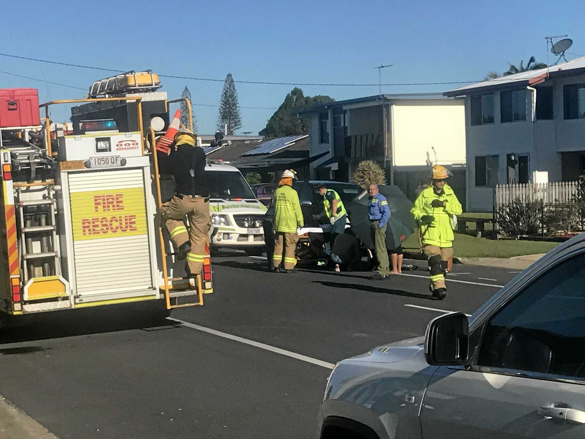 A child was hit by a car in south Mackay on Monday.